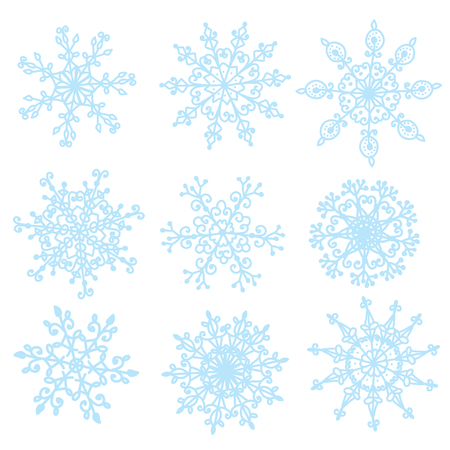 Snowflakes set funny design hand drawn style Vector
