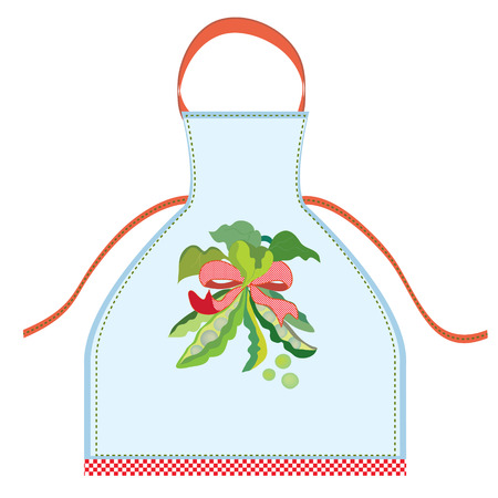 specific clothing: Apron design with pea pod illustration