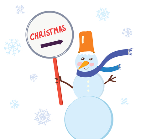 snowball: Christmas snowman with sign for holiday card Illustration