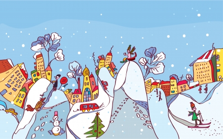 Christmas winter city background funny card Vector
