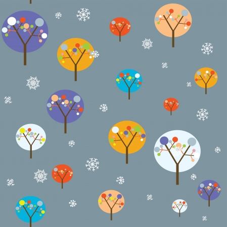 seasonal forest: Christmas seamless with trees and snowflakes funny design Illustration