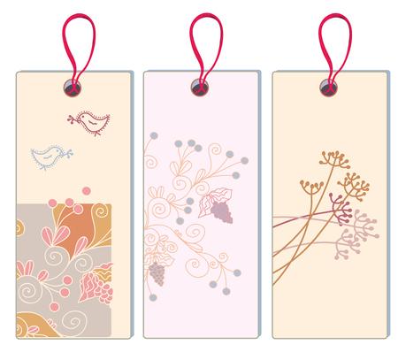 animalitos tiernos: Bandera floral con uva y conjunto de aves - formato vertical