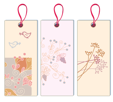 Floral banner with grape and bird set - vertical format Vector