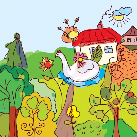 Kid drawing landscape, house, trees from fairytale illustration Vector