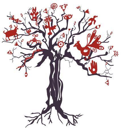 animal ritual: Mystic tree with anymals and symbols illustration Illustration