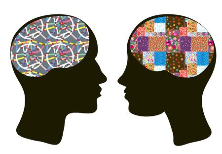 cognicion: Los cerebros y el concepto de pensamiento del hombre y de la mujer - enfoque psychologie
