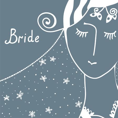 Wedding invitation with bride retro design Vector