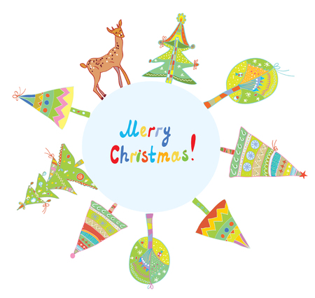 holiday symbol: Christmas card frame with trees and deer Illustration