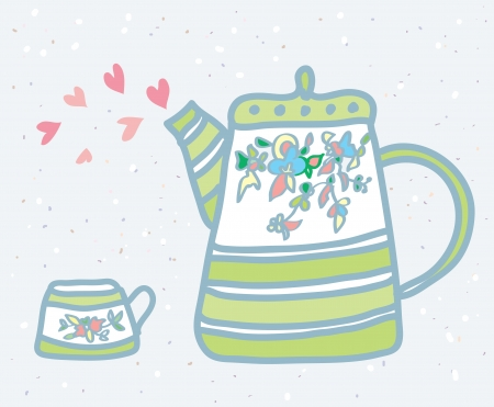 Tea pot, cup and love symbols  Vector
