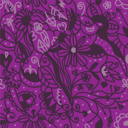 Floral seamless pattern purple colors design Vector