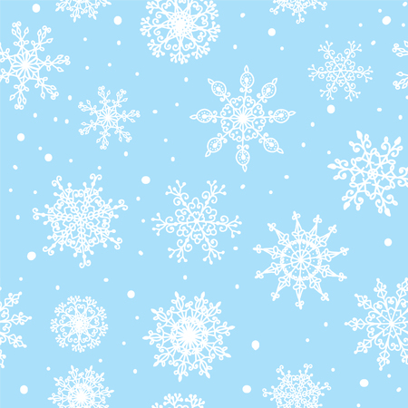 Snowflakes seamless pattern hand drawn design Vector