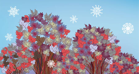 Tree banner with snow and leaves illustration
