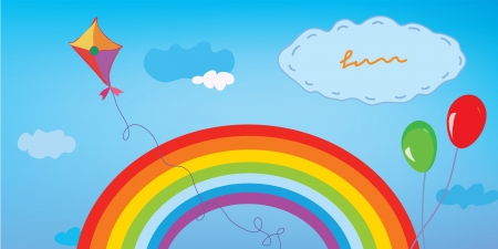 Background with rainbow, sky, kite and balloons for kids Vector