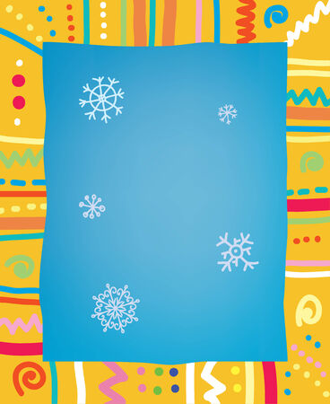 Template with frame and snow for christmas of birthday party Vector