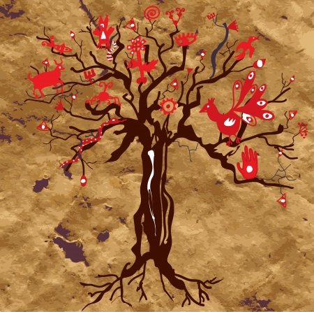 relics: Mystic tree on the paper texture with symbols and eyes Illustration
