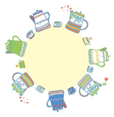 Tea time frames with cups and pots funny design Vector