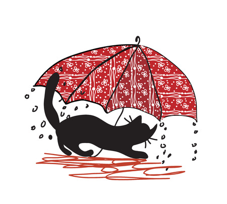 Cat and umbrella - bad weather cartoon Vector