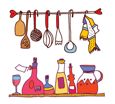 Kitchen and wine accesorries funny design shelves Vector