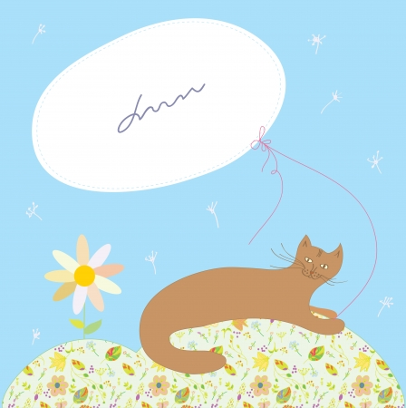 Greeting card with cat and frame and floral pattern Vector