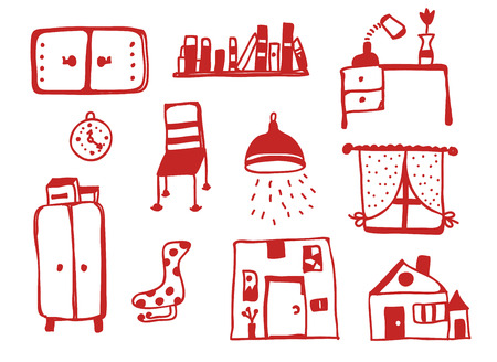 Furniture icons set funny design  Vector