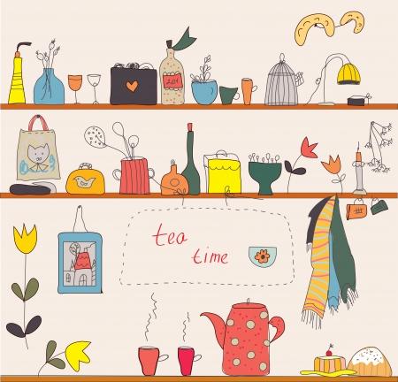 부엌 선반 재미있는 디자인의 티 타임 일러스트