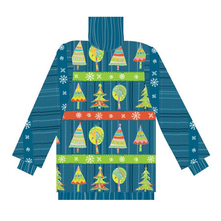 Christmas sweater knitted pattern with trees and snow funny design Stock Photo - 24385920