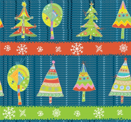 Christmas trees seamless winter knitting pattern funny Vector