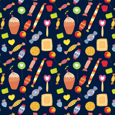 Sweets funny background with candies and cakes Vector