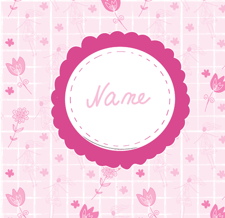 girl cute: Baby girl cute annoncement card with frame name Illustration