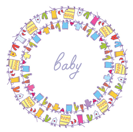 Baby laundry cute frame round motive Vector