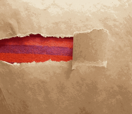 tissue paper: Paper frame texture with torn area and red tissue Illustration