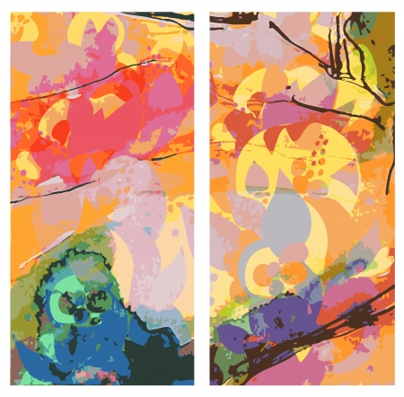 Abstract east banners vertical watercolor style Vector
