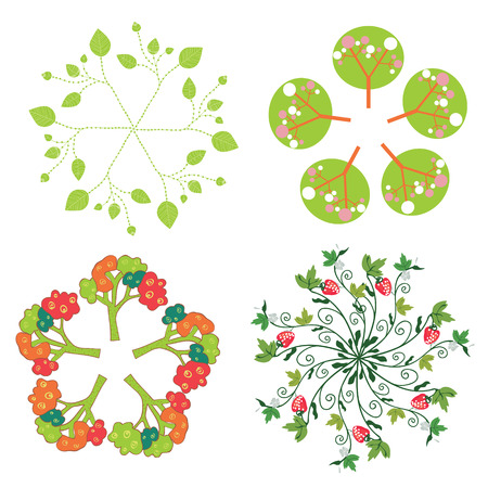 germinate: Leaves, trees, flowers symbols in circle set Illustration