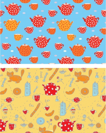 Funny tea banners with sweets, cats, pots Vector