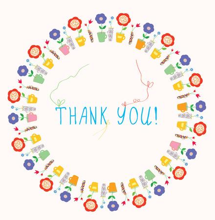 mummie: Dank u wenskaart met bloemen frame