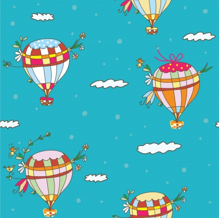 Hot air balloon seamless pattern - funny travel idea Vector