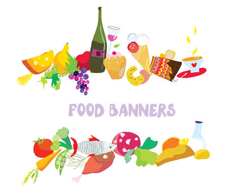 Food banners set cartoon design  Vector