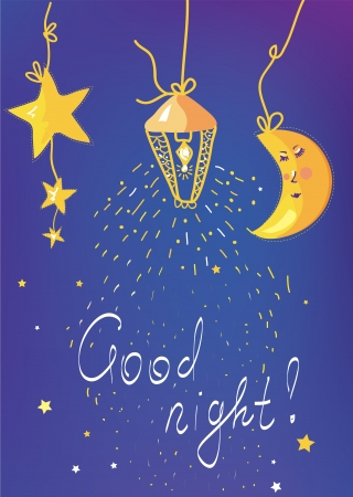 good night: Good night banner and card for children