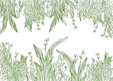 Grass banner artistic illustration with borders Vector