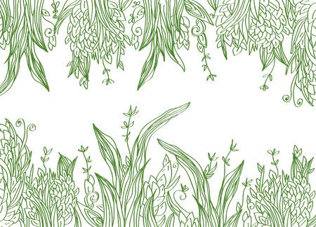 Grass banner artistic illustration with borders Illustration