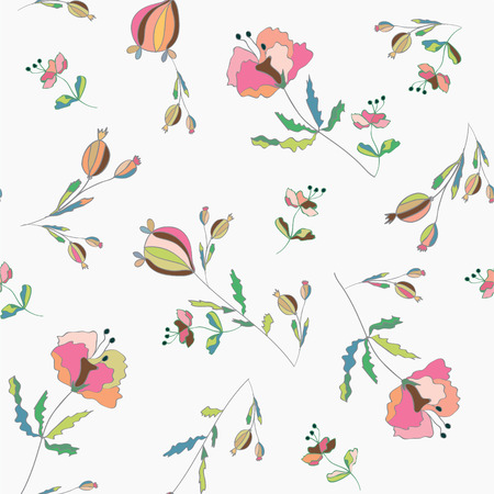 Poppies floral seamless pattern pastel colored