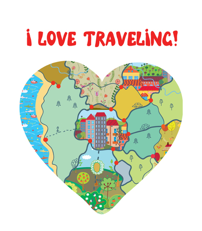 i kids: I love travel funny card with map heart Illustration
