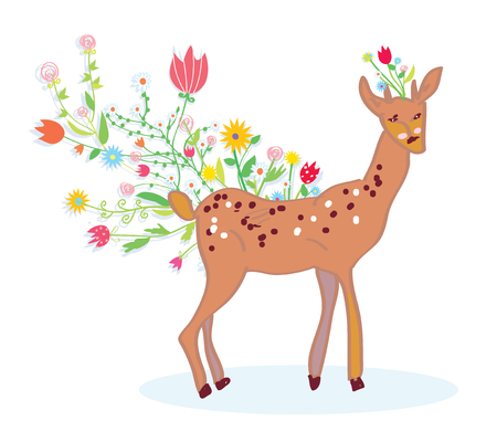 Deer and flower spring background cute design Vector