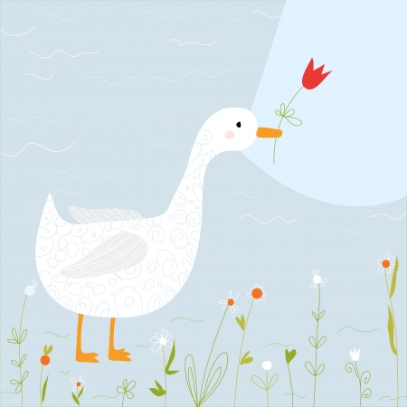 Spring greeting card with goose and flowers cartoon Vector