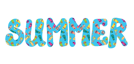 Summer banner with flip flops funny icon Vector