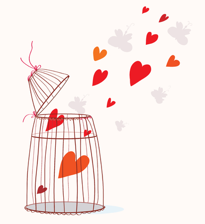 Love card with cage and heart - freedom concept Vector
