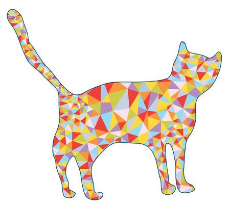 silhoette: Cat silhoette with mosaic design illustration