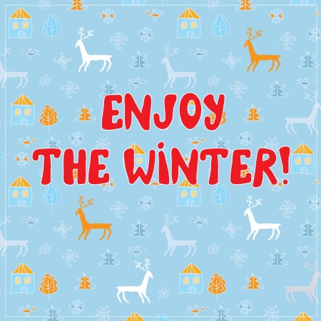 Enjow winter funny background design with pattern Vector