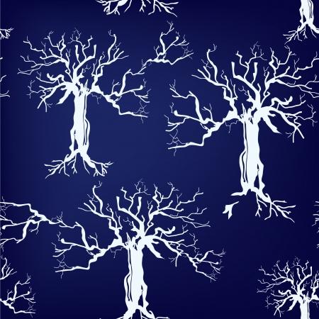 silhoette: Trees silhoette seamless pattern on blue background