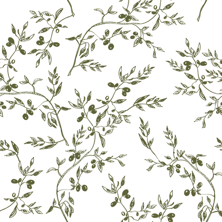 rama de olivo: Diseño dibujado patrón de rama verde oliva inconsútil mano